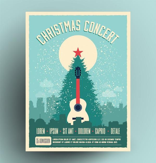 Kerstconcert retro poster voor live muzikaal evenement met kerstboom en akoestische gitaar Premium Vector