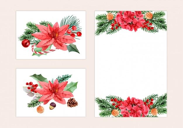 Kerstdag, aquarel schilderij voor wenskaart, briefkaart, poster Premium Vector
