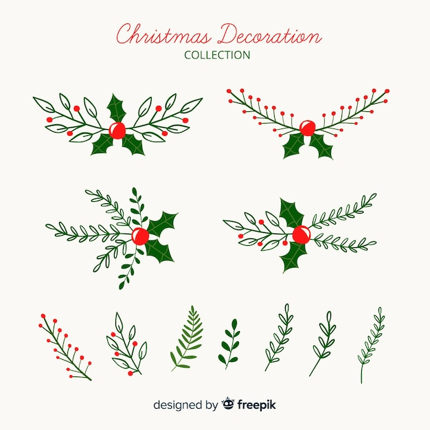 Kerstdecoratie collectie Gratis Vector