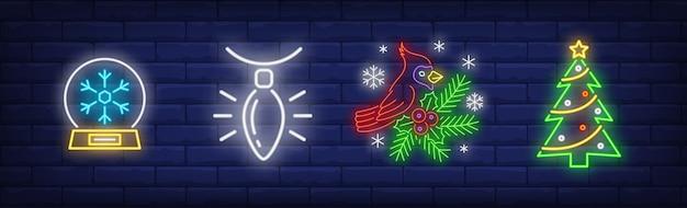 Kerstdecoratie in neon stijl collectie Gratis Vector