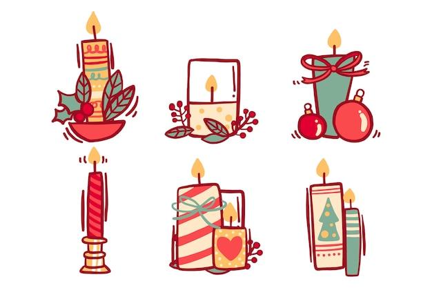 Kerstdecoratie met kaars en linten Gratis Vector