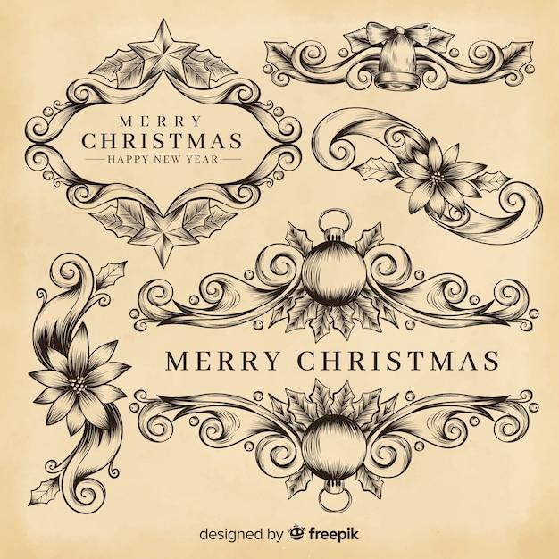 Kerstdecoratie met sierranden Gratis Vector