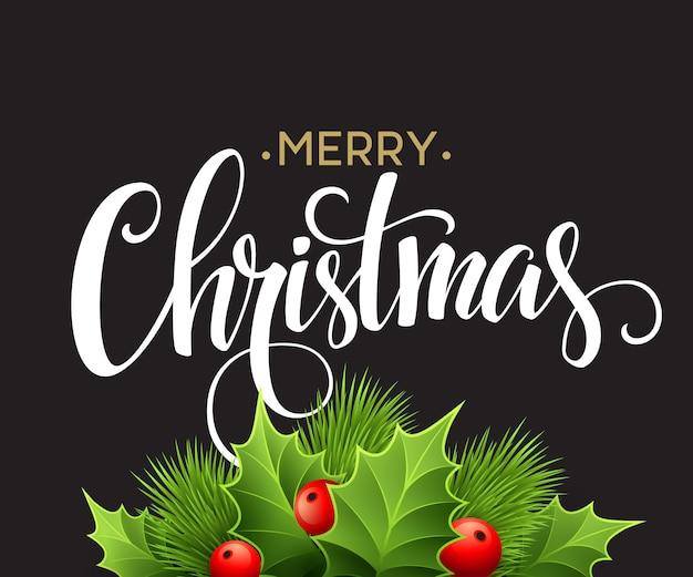 Kerstdecoratie op schoolbord, wenskaart Premium Vector