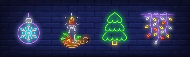 Kerstdecoratie symbolen in neon stijl Gratis Vector