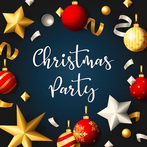 Kerstfeest banner met ballen en linten op blauwe achtergrond Gratis Vector