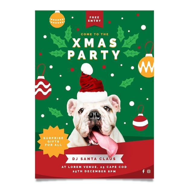 Kerstfeest flyer met schattige hond Gratis Vector
