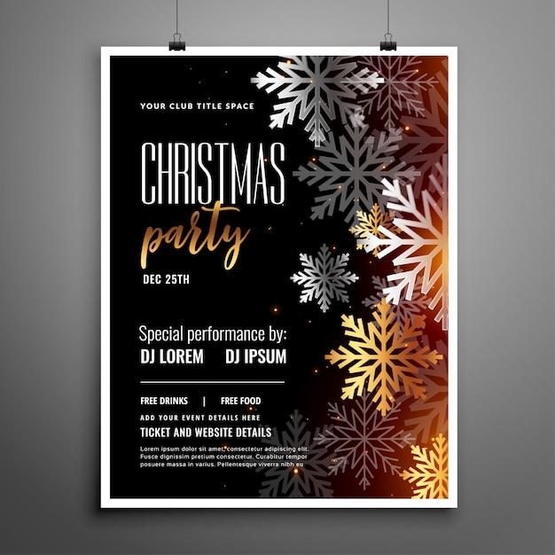 Kerstfeest flyer met zilveren sneeuwvlokken decoratie Gratis Vector