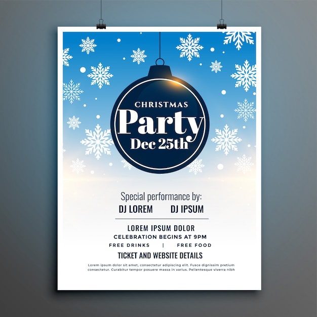 Kerstfeest flyer poster sjabloon met vallende sneeuw Gratis Vector