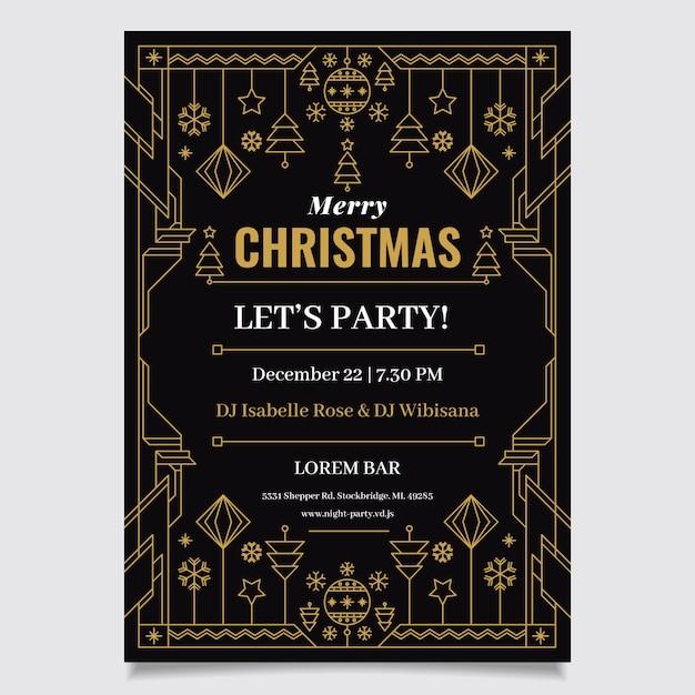Kerstfeest folder sjabloon in kaderstijl Gratis Vector