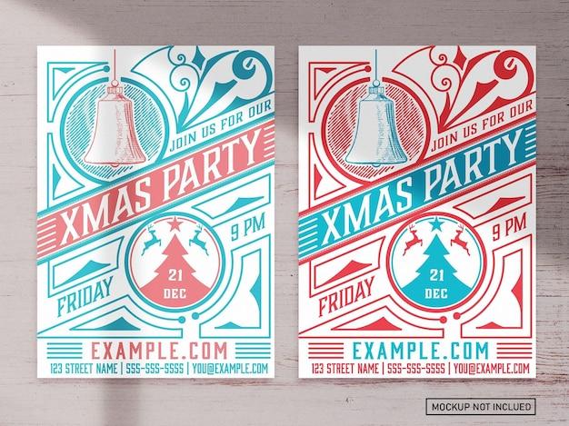 Kerstfeest grafische flyer lay-out Premium Vector