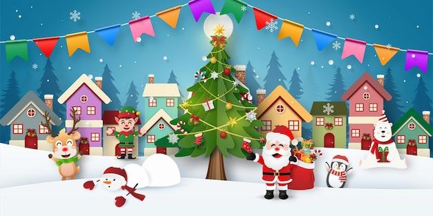 Kerstfeest met de kerstman en vrienden in sneeuwstad Premium Vector