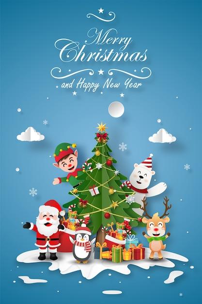 Kerstfeest met de kerstman en vrienden met kerstboom Premium Vector