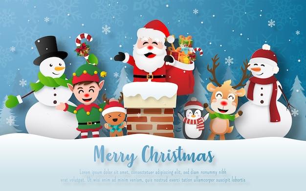 Kerstfeest met de kerstman en vrienden op een schoorsteen Premium Vector