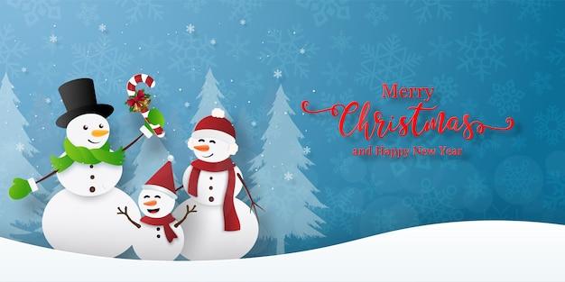 Kerstfeest met sneeuwman. prettige kerstdagen en gelukkig nieuwjaar wenskaart Premium Vector
