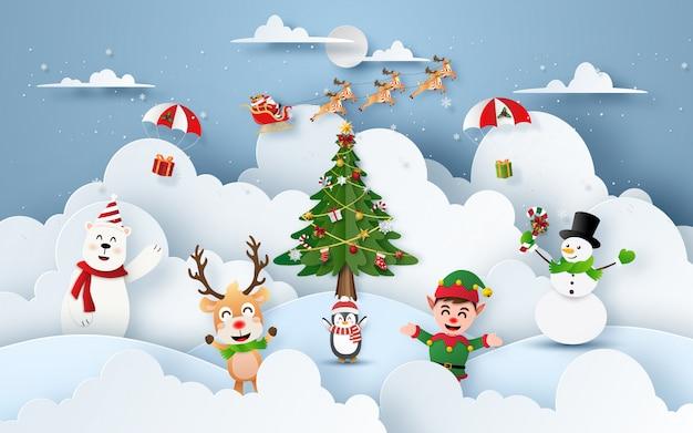 Kerstfeest op sneeuw berg met tekens van de kerstman en kerstmis Premium Vector