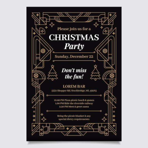 Kerstfeest poster sjabloon in kaderstijl Gratis Vector