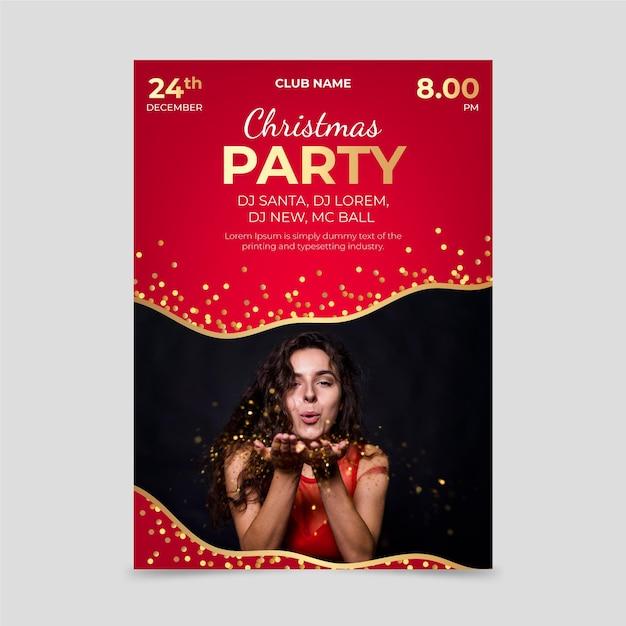 Kerstfeest poster sjabloon met foto Premium Vector