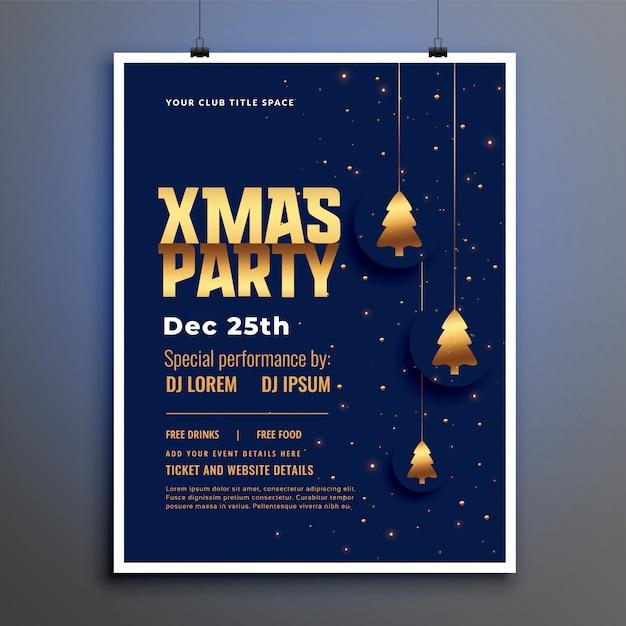 Kerstfeest poster sjabloon met gouden kerstboom Gratis Vector