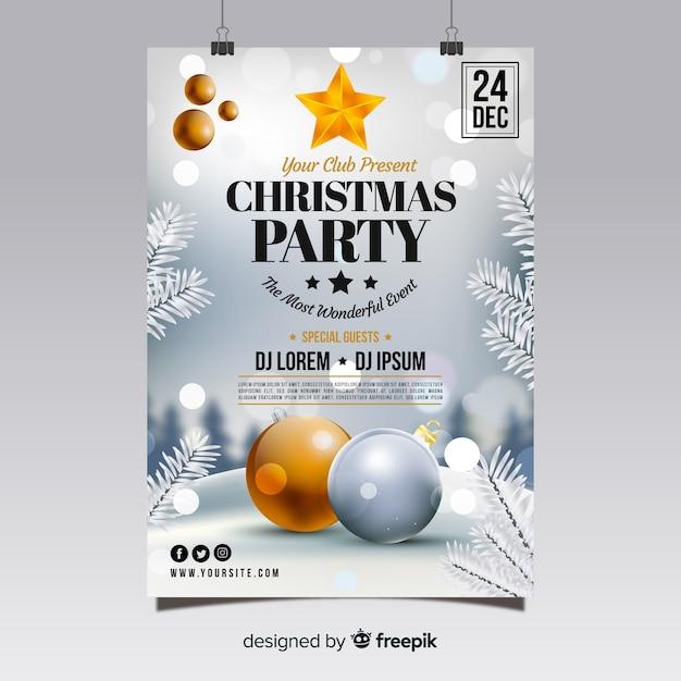 Kerstfeest poster Gratis Vector