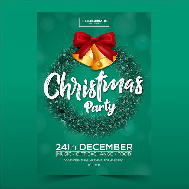 Kerstfeest poster Premium Vector