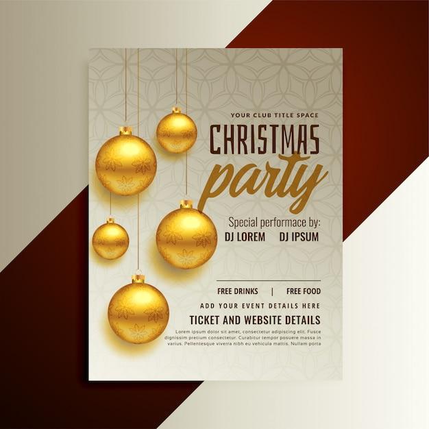 Kerstfeest posterontwerp met gouden ballen Gratis Vector