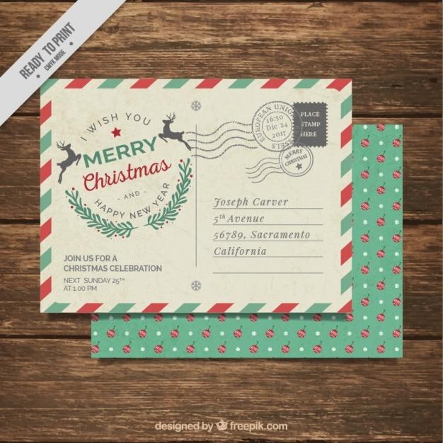 Kerstfeest uitnodiging met post stijl Gratis Vector