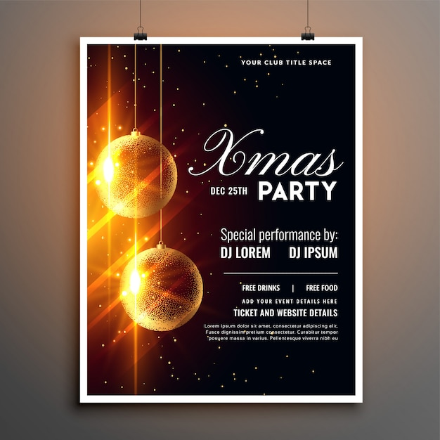 Kerstfeest viering flyer poster sjabloonontwerp Gratis Vector