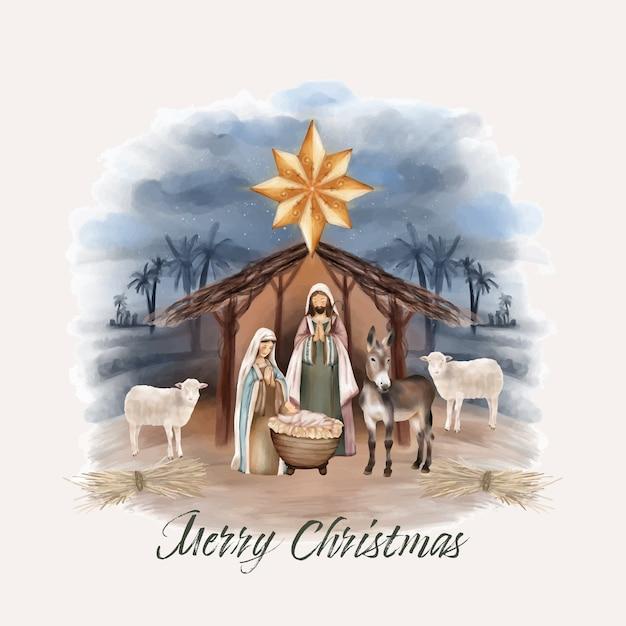 Kerstgeboorte van jezus in schuur Premium Vector