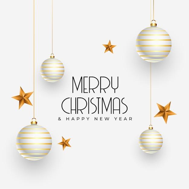 Kerstgroet met realistische decoratie-elementen Gratis Vector