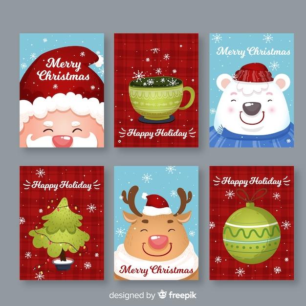 Kerstkaart collectie Gratis Vector
