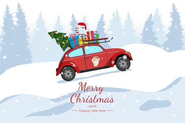 Kerstkaart. een rode auto draagt een kerstboom en cadeautjes. Premium Vector
