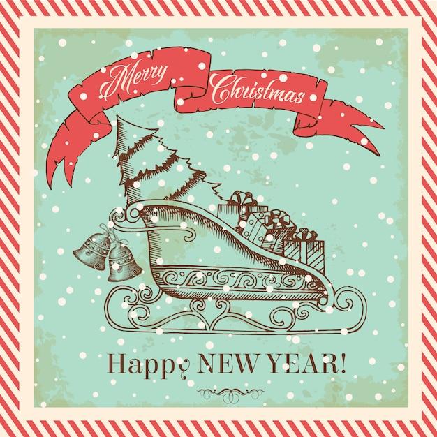 Kerstkaart in vintage stijl met de slee van de kerstman met cadeautjes en kerstboom Premium Vector