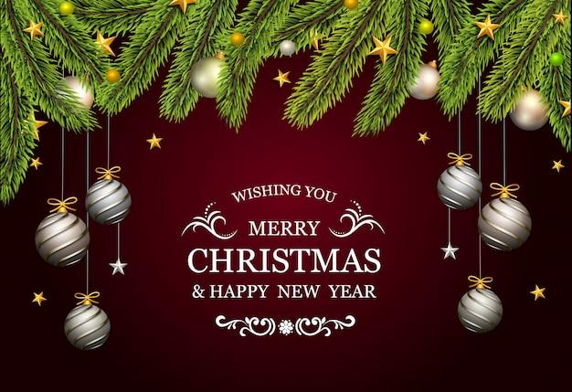 Kerstkaart met dennenboom en decoratieve platina gouden ballen Premium Vector