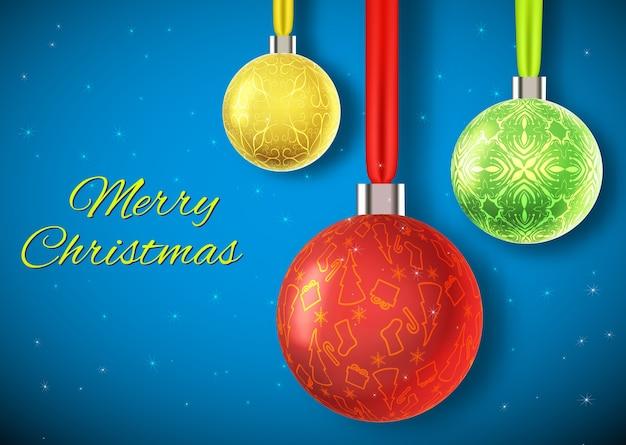 Kerstkaart met gele kerstbal drie kleurrijke gloeiende kerstballen Gratis Vector