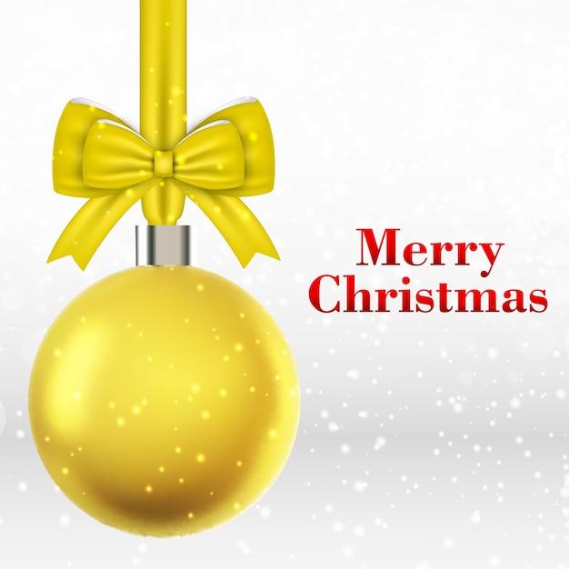 Kerstkaart met gele kerstbal Gratis Vector