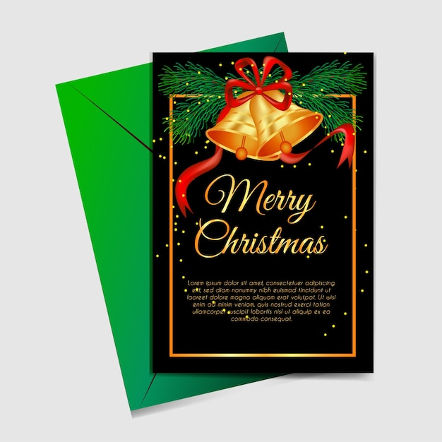 Kerstkaart met kerstboom en jingle bells goud Premium Vector