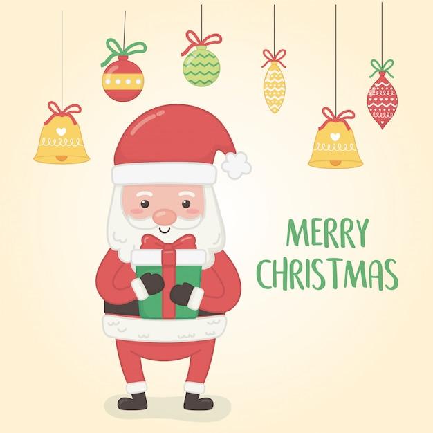 Kerstkaart met kerstman en ballen opknoping Premium Vector