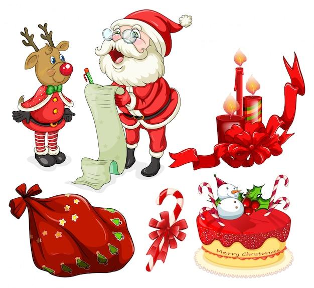 Kerstkaart met kerstman en ornamenten Gratis Vector