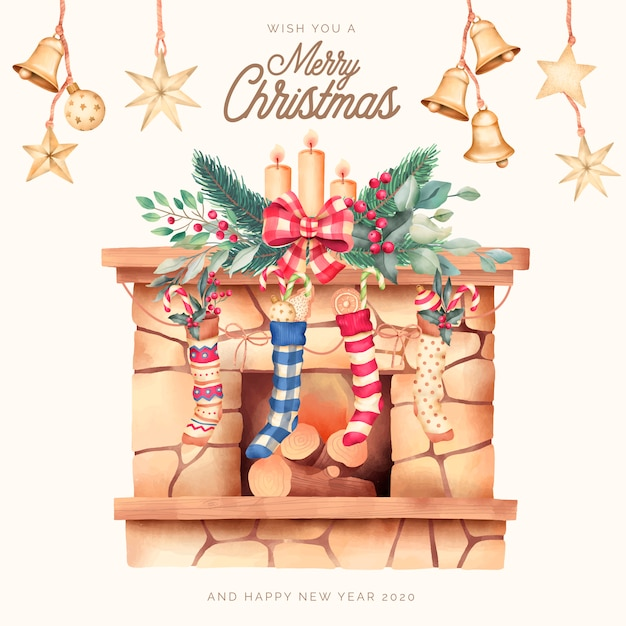 Kerstkaart met mooie schoorsteen en ornamenten Gratis Vector