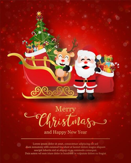 Kerstkaart van de kerstman en rendieren met slee Premium Vector