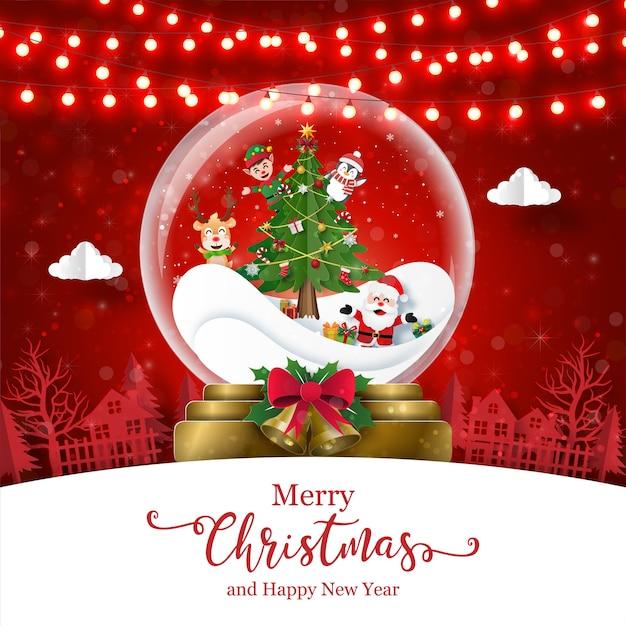 Kerstkaart van de kerstman en vrienden in kerstbal Premium Vector