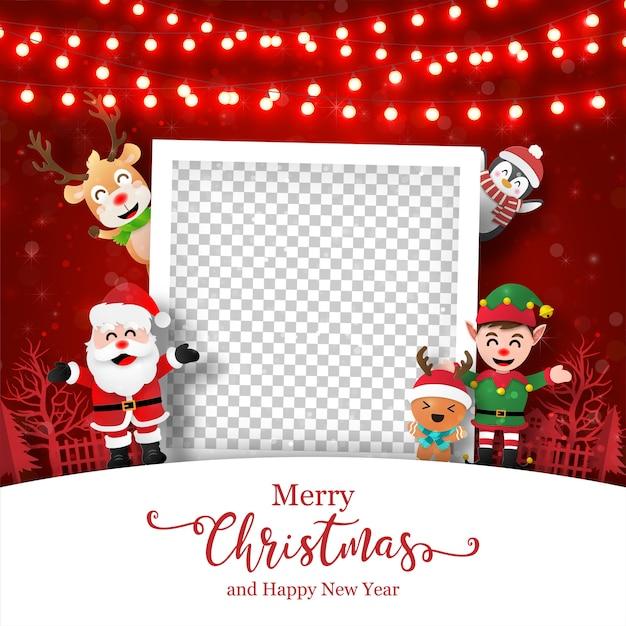 Kerstkaart van fotolijst met de kerstman en vrienden Premium Vector