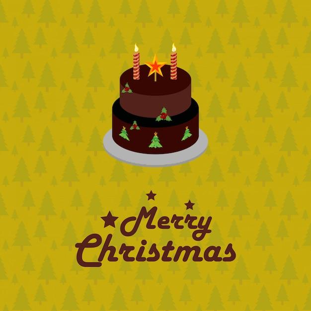 Kerstkaart verjaardagstaart Gratis Vector