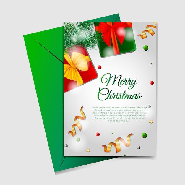 Kerstkaarten Met Dozen Linten En Kerstboom Vector Premium Download