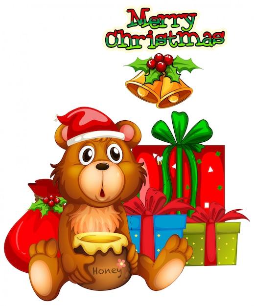 Kerstkaartontwerp met beer en cadeaus Gratis Vector
