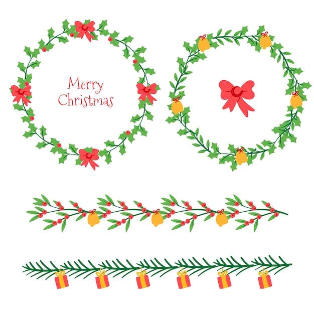 Kerstkaders en randen collectie Gratis Vector