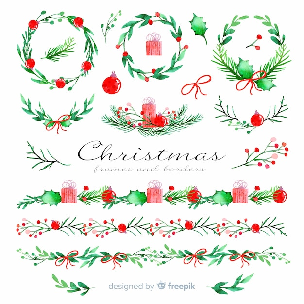 Kerstkaders en randen in aquarel Gratis Vector