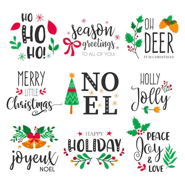 Kerstkentekens met mooie handgetekende elementen en citaten Gratis Vector