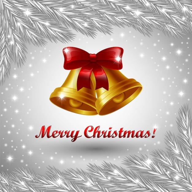 Kerstklokken en merry christmas-groet Premium Vector