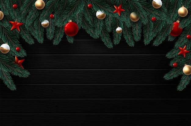 Kerstkrans met rode en gouden decoraties, linten en bessen. hout textuur Premium Vector